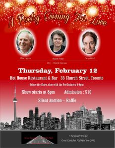 Great Canadian PoeTrain Tour Fundraiser this February 12, 2015 in Toronto.