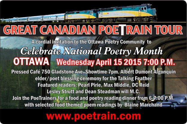 Great Canadian PoeTrain Tour Ottawa Event April 15, 2015 poster