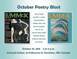 Nine Canadian contributors of the California-based LUMMOX anthologies will be featured Sunday, October 18 in Hamilton, ON, Canada